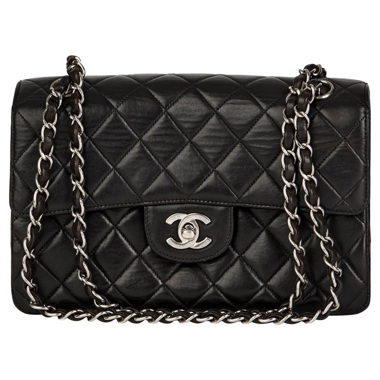 1997 Chanel Black Lambskin Vintage Double Sided Classic Flap Bag  For Sale