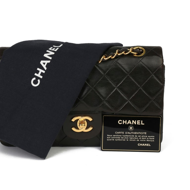 1997 Chanel Black Quilted Lambskin Leather Vintage Small Classic Double Flap Bag For Sale 7