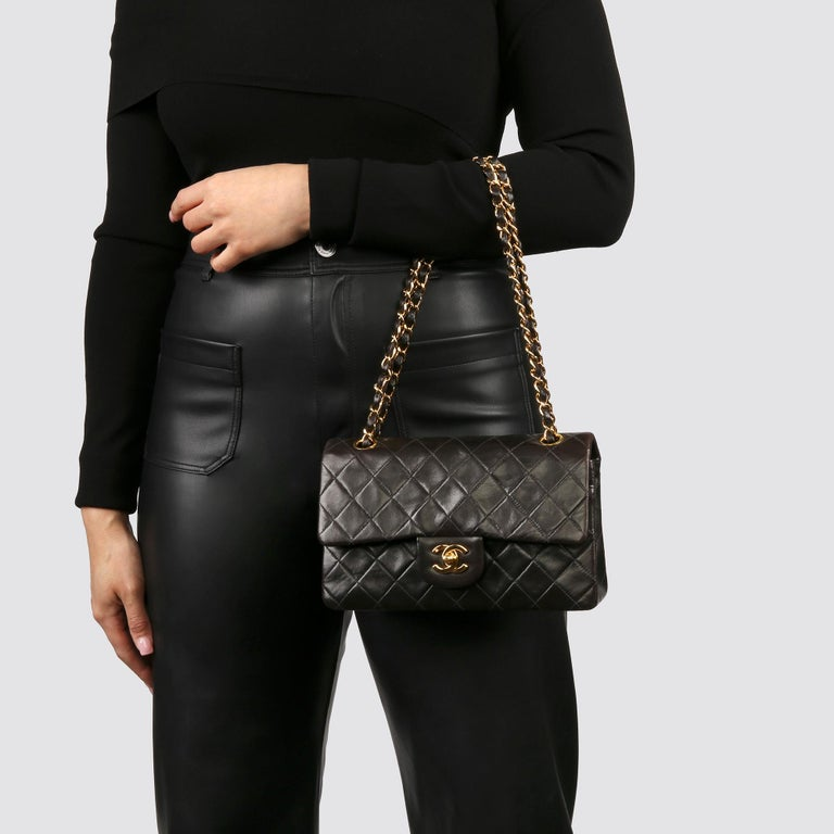 1997 Chanel Black Quilted Lambskin Leather Vintage Small Classic Double Flap Bag For Sale 8