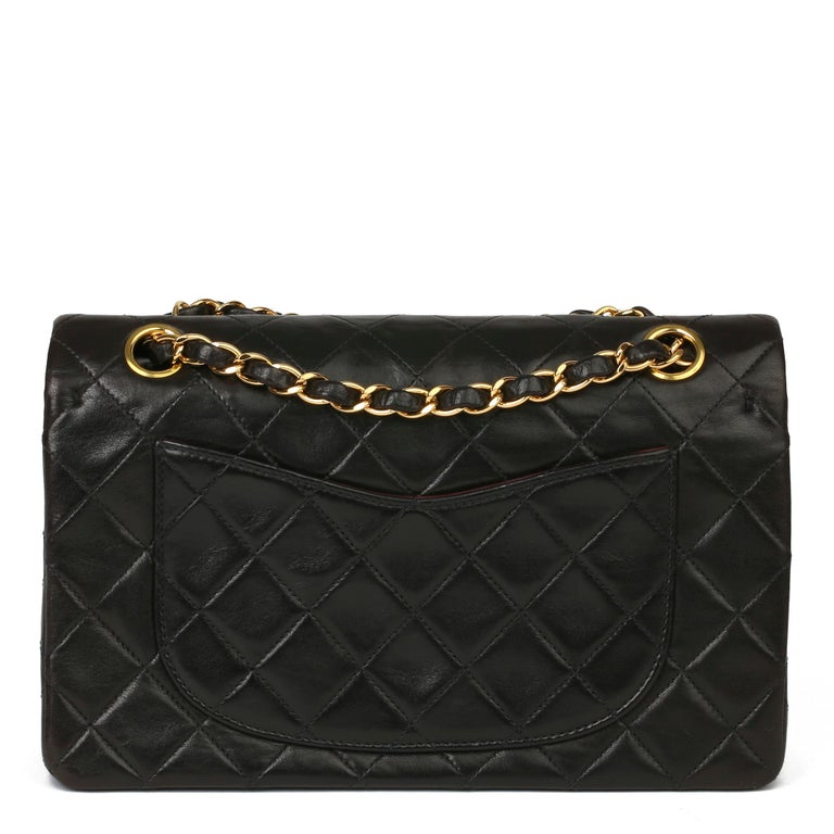 1997 Chanel Black Quilted Lambskin Leather Vintage Small Classic Double Flap Bag For Sale 1