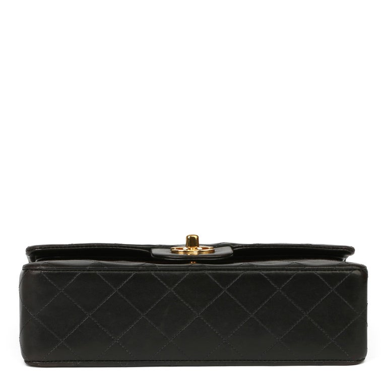 1997 Chanel Black Quilted Lambskin Leather Vintage Small Classic Double Flap Bag For Sale 2