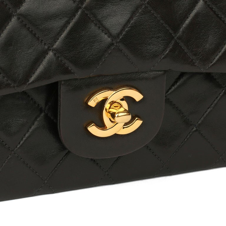 1997 Chanel Black Quilted Lambskin Leather Vintage Small Classic Double Flap Bag For Sale 3