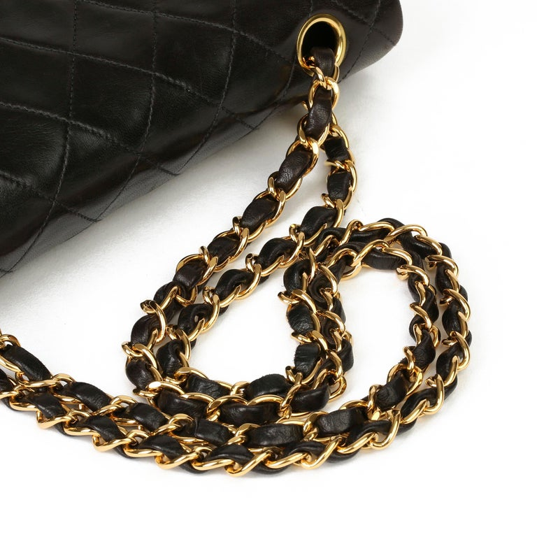 1997 Chanel Black Quilted Lambskin Leather Vintage Small Classic Double Flap Bag For Sale 4