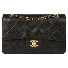 1997 Chanel Black Quilted Lambskin Leather Vintage Small Classic Double Flap Bag