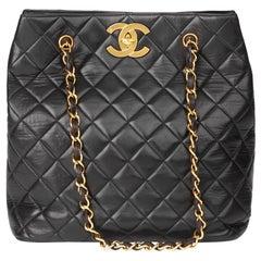 1997 Chanel Black Quilted Lambskin Vintage Classic Shoulder Bag