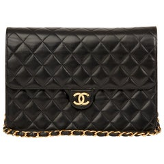 1997 Chanel Black Quilted Lambskin Vintage Medium Classic Single Flap Bag