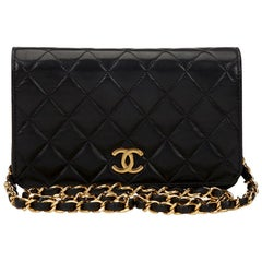 1997 Chanel Black Quilted Lambskin Vintage Mini Flap Bag
