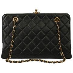 1997 Chanel Black Quilted Lambskin Vintage Timeless Frame Bag