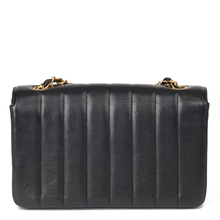 1997 Chanel Black Vertical Quilted Lambskin Vintage Classic Single Flap Bag  1