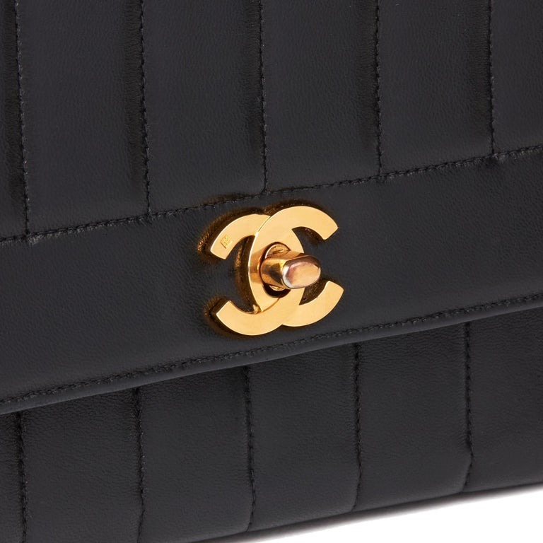 1997 Chanel Black Vertical Quilted Lambskin Vintage Classic Single Flap Bag  3