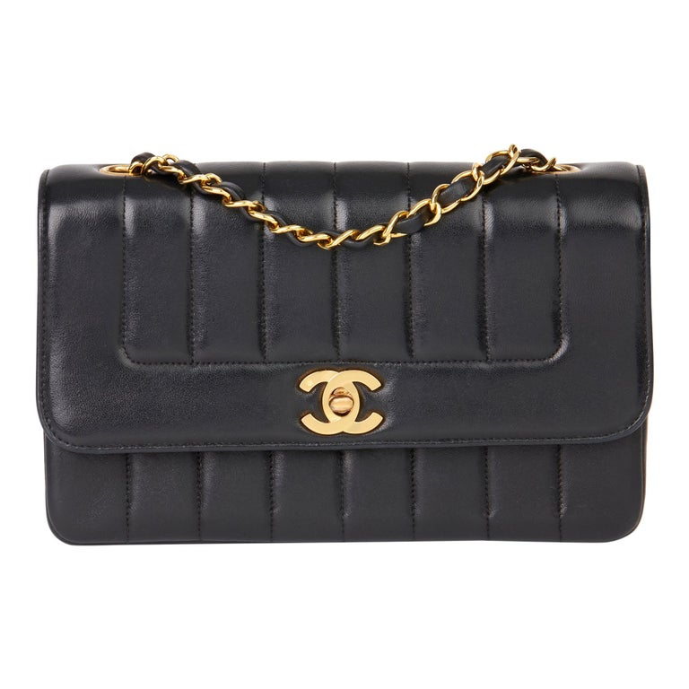 1997 Chanel Black Vertical Quilted Lambskin Vintage Classic Single Flap Bag