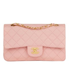 1997 Chanel Pink Quilted Lambskin Vintage Small Classic Double Flap Bag