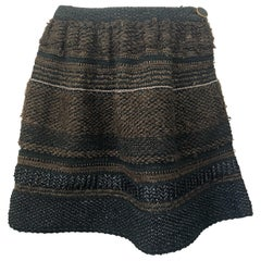 1997 Chloe by Stella McCartney Sz 44 / 12 Brown Black Raffia A  Line Mini Skirt