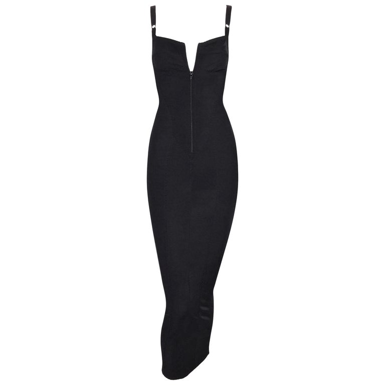 1997 Dolce & Gabbana Pin-Up Black Wiggle Zip Down Dress For Sale