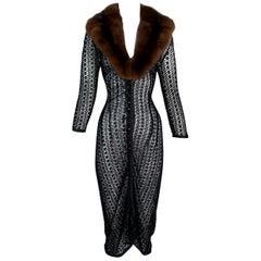 1997 Dolce & Gabbana Sheer Black Knit Cardi Sweater Dress w Sable Collar