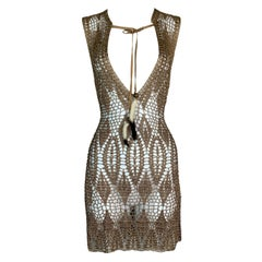 1997 Dolce & Gabbana Sheer Gold Knit Plunging Mini Dress w Feathers