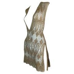 1997 Dolce & Gabbana Sheer Gold Knit Plunging Mini Dress w Slits