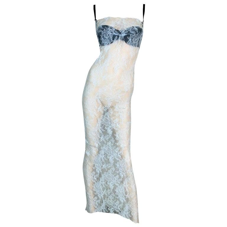 1997 Dolce & Gabbana Sheer Ivory Lace Gown Dress w Black Bra & Train For Sale