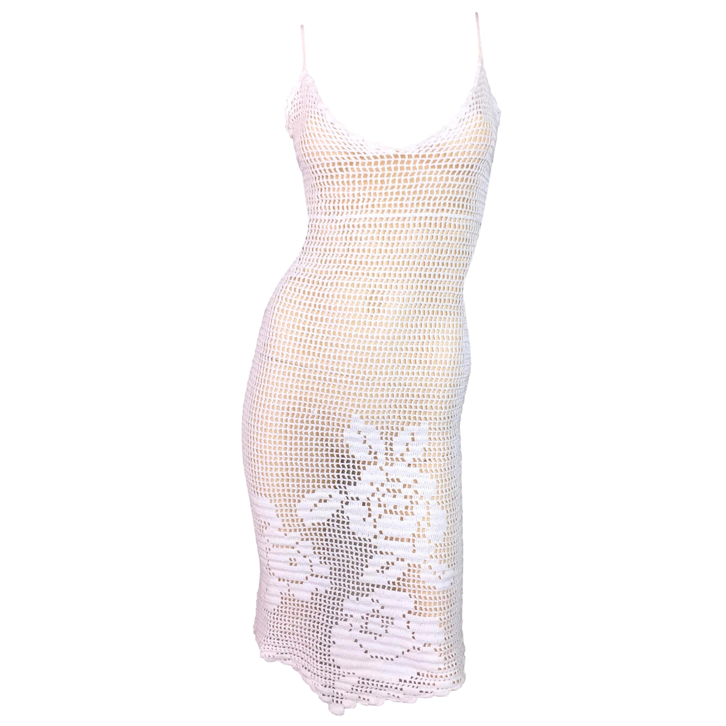 1997 Dolce & Gabbana Sheer White Crochet Floral Plunging Wiggle Dress