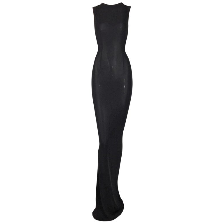 1997 Gucci by Tom Ford Semi-Sheer Extra Long Black Tank Dress 44 For Sale