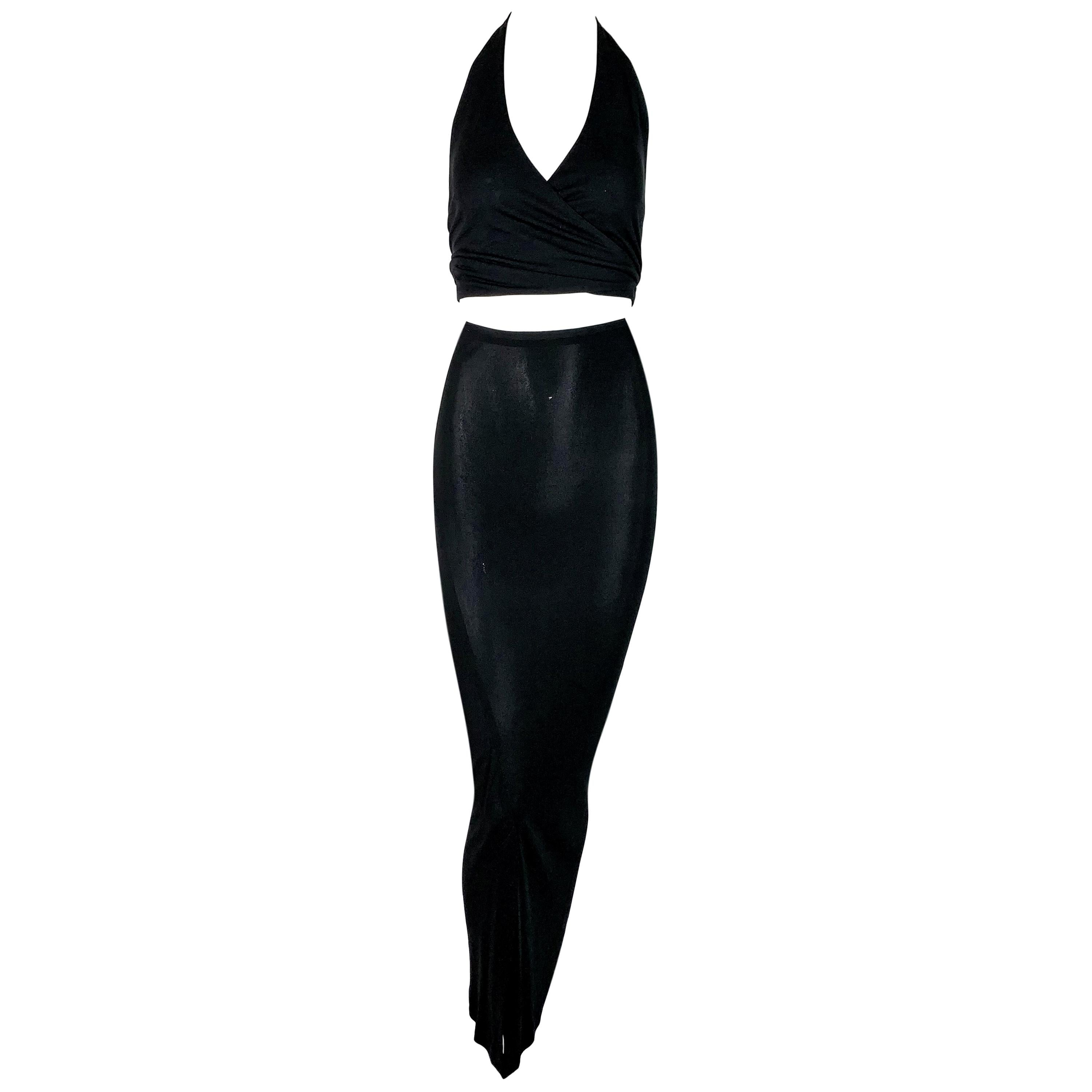 1997 Gucci by Tom Ford Sheer Black Wrap Crop Top & Long Wiggle Skirt Set
