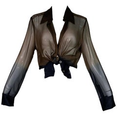 1997 Gucci by Tom Ford Sheer Brown & Blue Ombre Silk Tunic Top