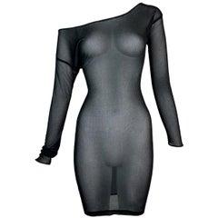 1997 Gucci Tom Ford Sheer Black L/S Off Shoulder Gauze Mini Dress