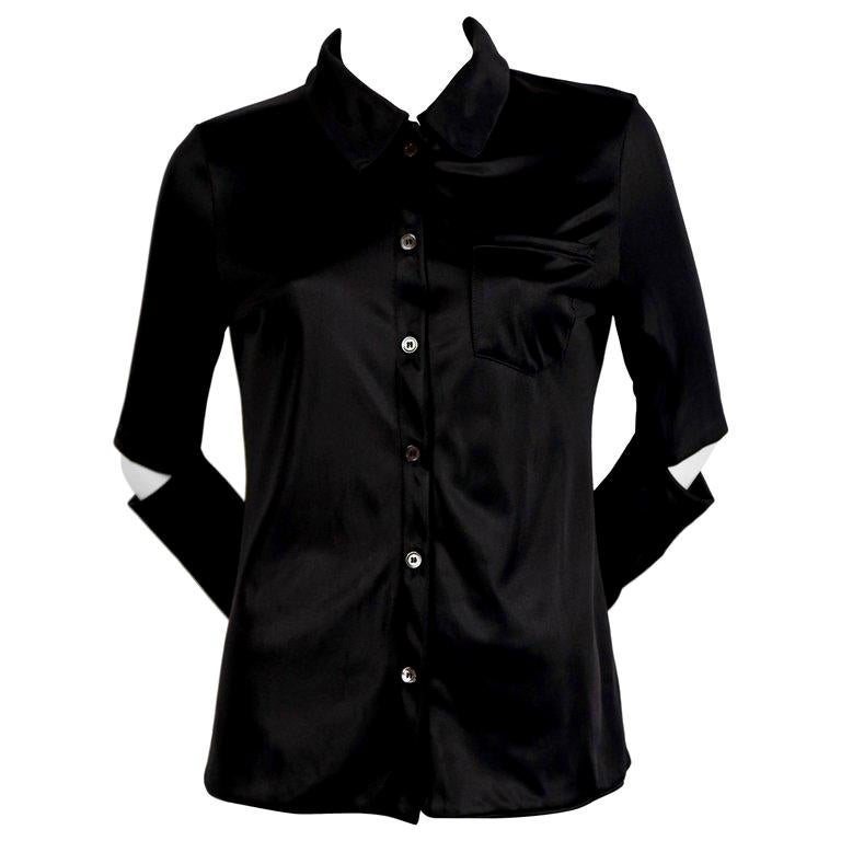 1997 HELMUT LANG black nylon shirt with cut out elbows