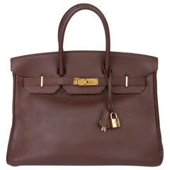 1997 Hermès Chocolate Brown Evercalf Leather Vintage Birkin 35cm