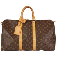 1997 Louis Vuitton Brown Monogram Coated Canvas, Leather Vintage Keepall 45