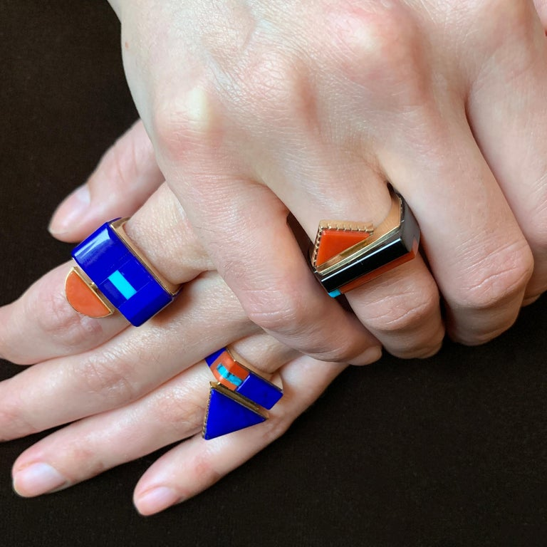 Cabochon 1997 Richard Chavez Lapis, Coral, Turquoise and Gold Ring For Sale