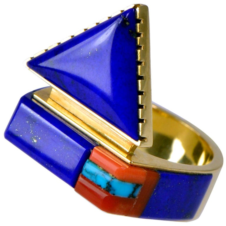 1997 Richard Chavez Lapis, Coral, Turquoise and Gold Ring For Sale