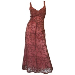 1997 Valentino Dusky Pink Beaded Net & Applique Dress