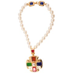 1997s Gorgeous Chanel Multicolored Gripoix Necklace