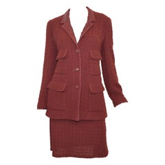1998 A Chanel Maroon Knit Skirt with Jacket Set