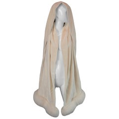 1998 Atelier Versace New With Tags Ivory Silk Velvet Ermine Fur Wrap Stole Scarf