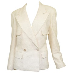 1998 C Chanel Cream Tweed Knit Jacket