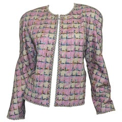 1998 C Chanel Multicolor Embellished Jacket with Mesh Overlay
