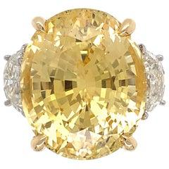 19.98 Carat Yellow Sapphire No Heat Diamond Platinum Ring Estate Fine Jewelry