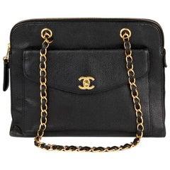 1998 Chanel Black Caviar Leather Vintage Classic Shoulder Bag