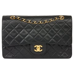 1998 Chanel Black Quilted Lambskin Vintage Medium Classic Double Flap
