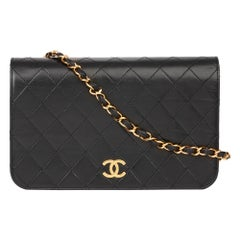 1998 Chanel Black Quilted Lambskin Vintage Small Classic Single Full Flap Bag