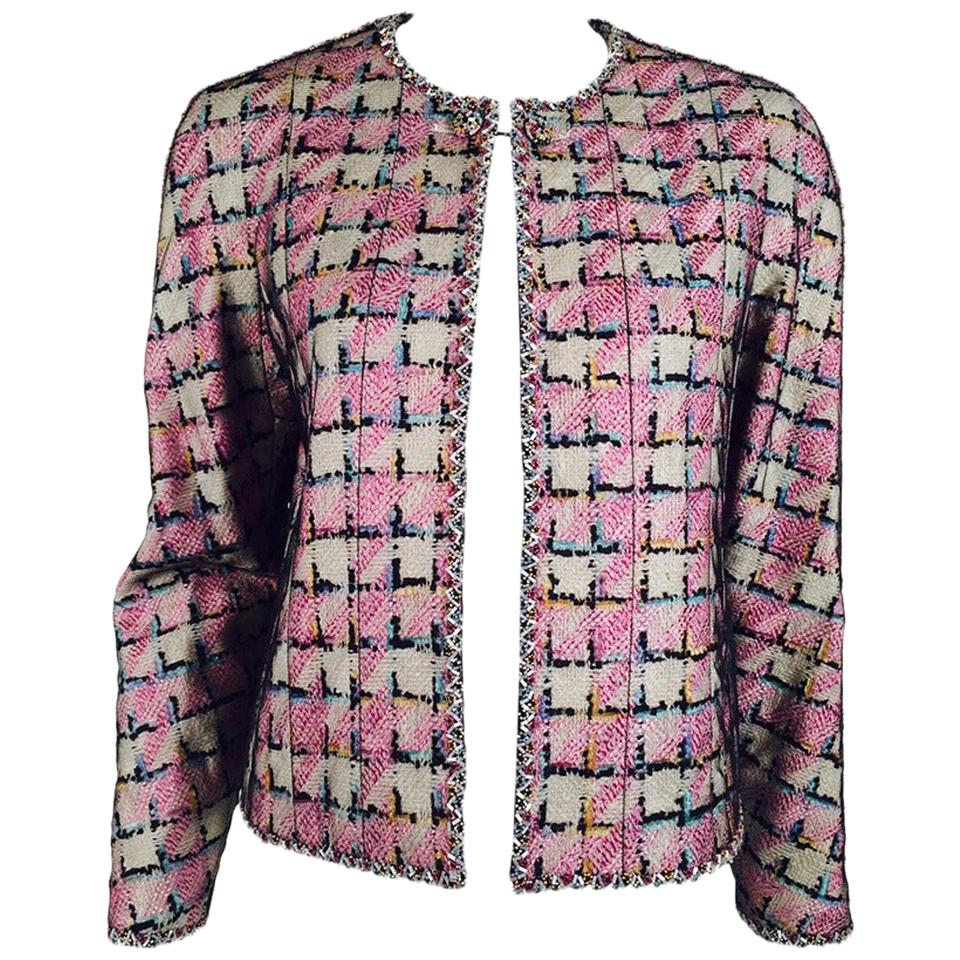1998 Chanel Cruise Collection Jacket With Net Overlay EU 42