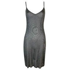 1998 Christian Dior John Galliano Sheer Silver Knit Mini Dress