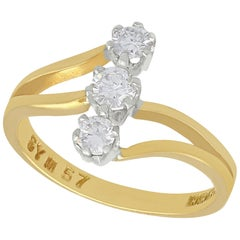 1998 Contemporary Diamond and Yellow Gold Three-Stone Ring