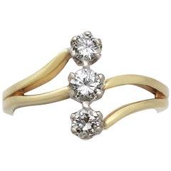1998 Contemporary Diamond and Yellow Gold Three-Stone Ring