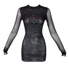 1998 Dolce & Gabbana Sheer Black Mesh Madonna Embellished L/S Tunic Top