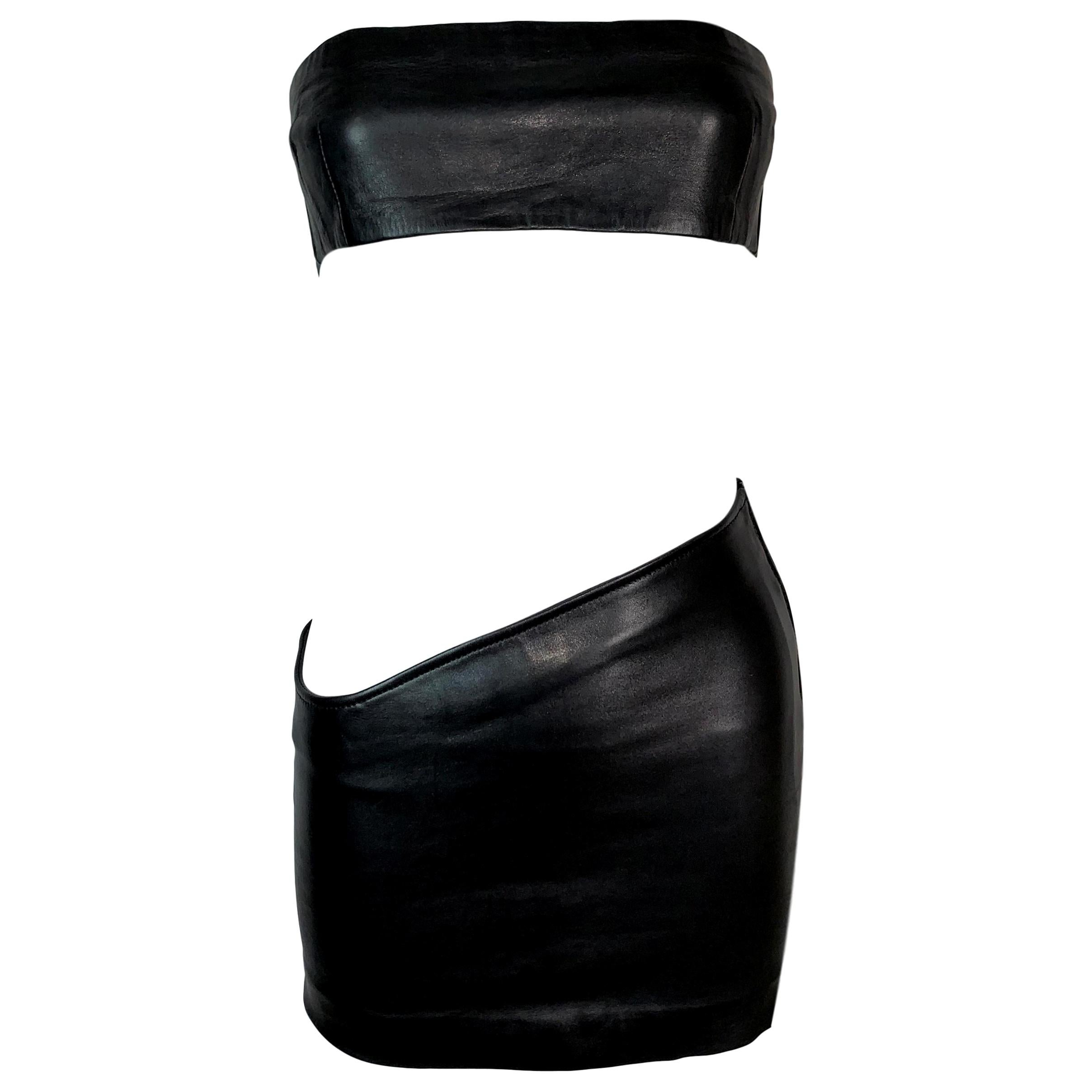 1998 Gucci by Tom Ford Black Leather Asymmetrical Mini Skirt & Tube Top Set