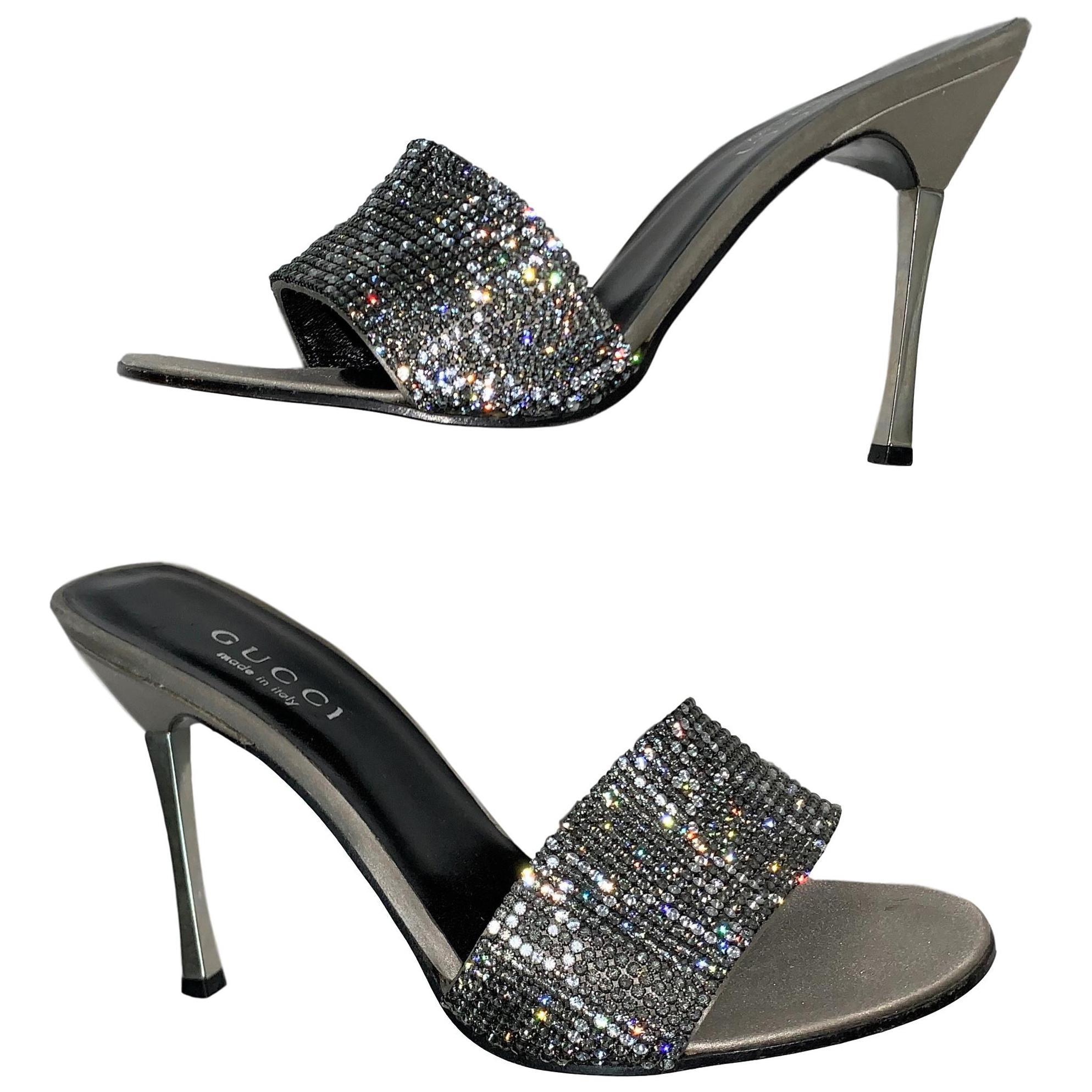 1998 Gucci by Tom Ford Crystal Silver G Logo Monogram High Heel Slides