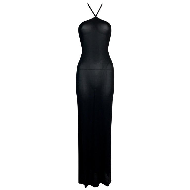 1998 Gucci by Tom Ford Sheer Black Halter Gown w G Logo Crystal 44 For Sale